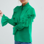 ASOS PETITE Deconstructed Ruffle Cold Shoulder Blouse With Tie Detail